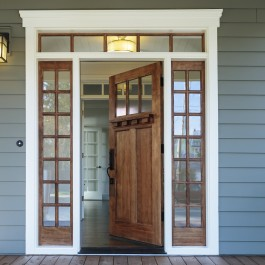 Exterior shot of an open Wooden Front Door