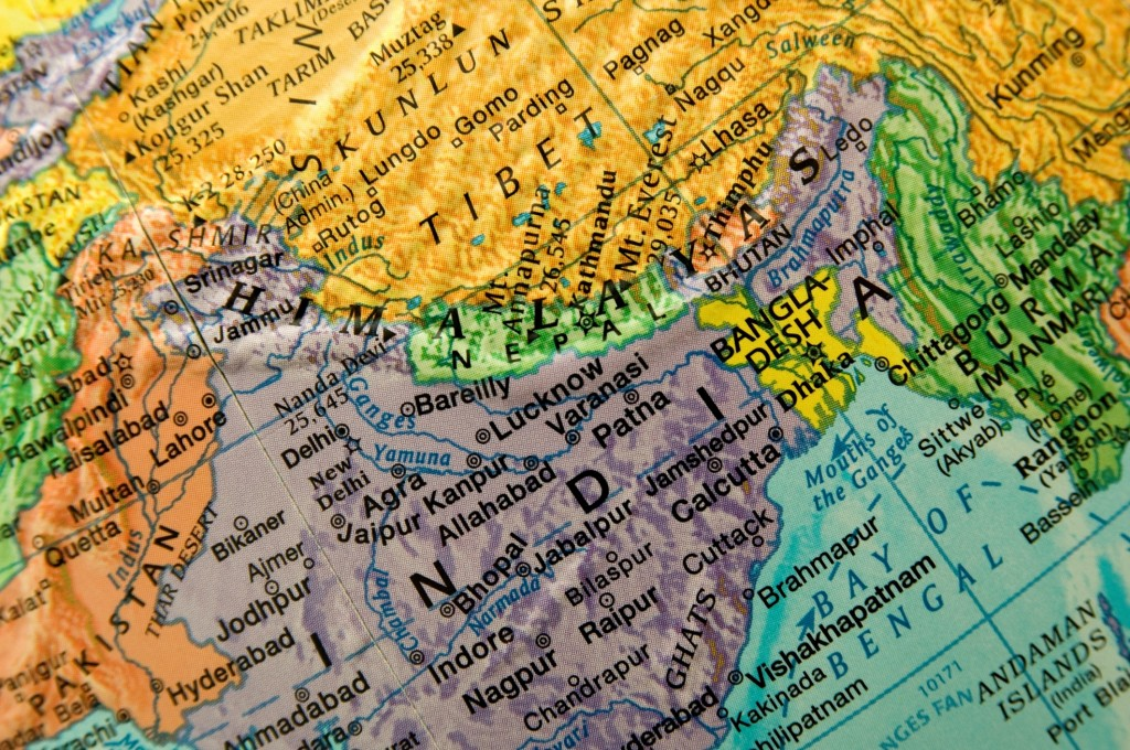 Close-up view of globe, India and Nepal.