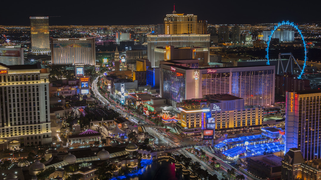 A picture of the Las Vegas strip at night taken from a high vantage point.  The view is north along the mid-strip area on December 23, 2015.