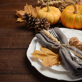 Autumn table setting, selective focus, copy space