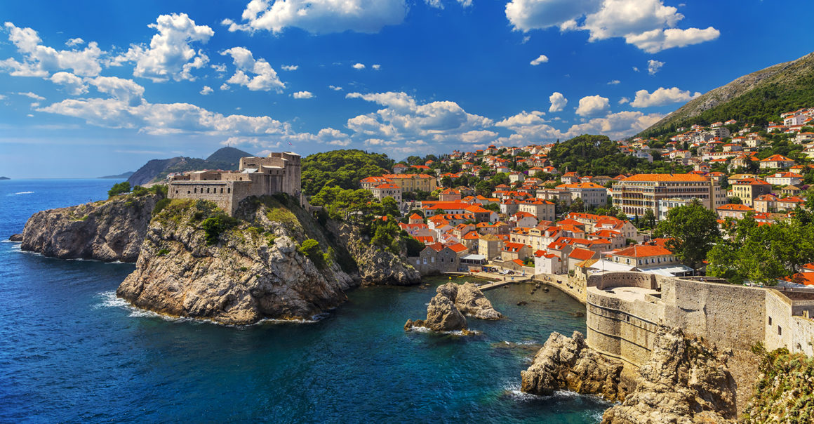 Croatia. South Dalmatia. General view of Dubrovnik - Fortresses Lovrijenac (left side) and Bokar seen from south old walls (it is on UNESCO World Heritage List since 1979)