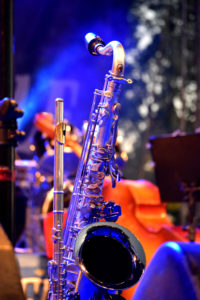 saxophone and flute on stage