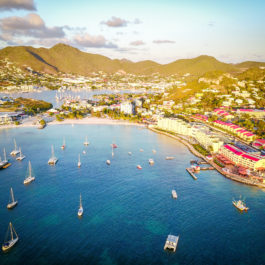 Drone view of tropical resorts built on coastline in Saint Martin