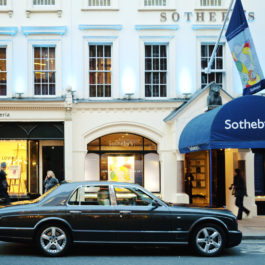 London, England - February 7, 2011: Sotheby's is the world's fourth oldest auction house. It is located in New Bond Street in Mayfair district.  It offers objects and works of art from all over the world.