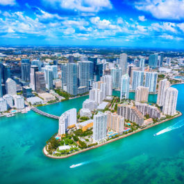 Miami Florida's downtown district shot from an altitude of about 1000 feet over the Biscayne Bay during a helicopter photo flight.