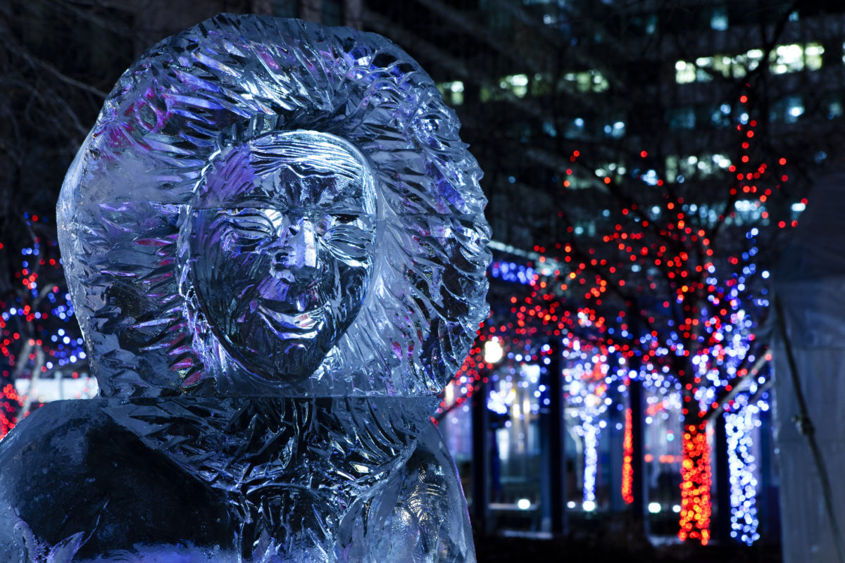 """Toronto, Canada - February , 19, 2010: Ice Sculpture Exhibit in the Village of Yorkville Park,Toronto,Canada"""