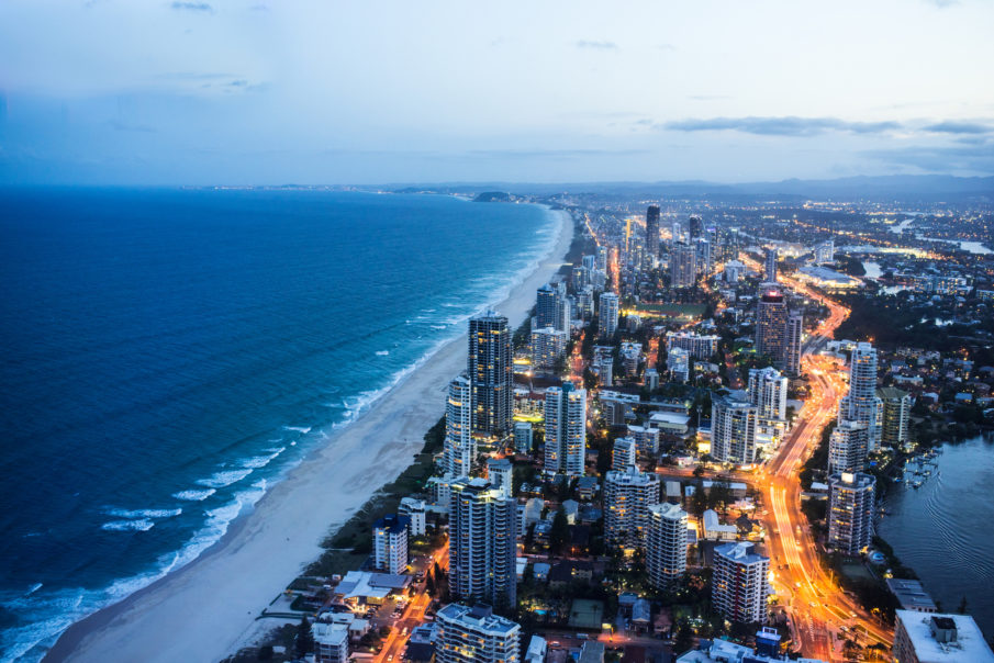 High angle shot of Gold Coast at night time