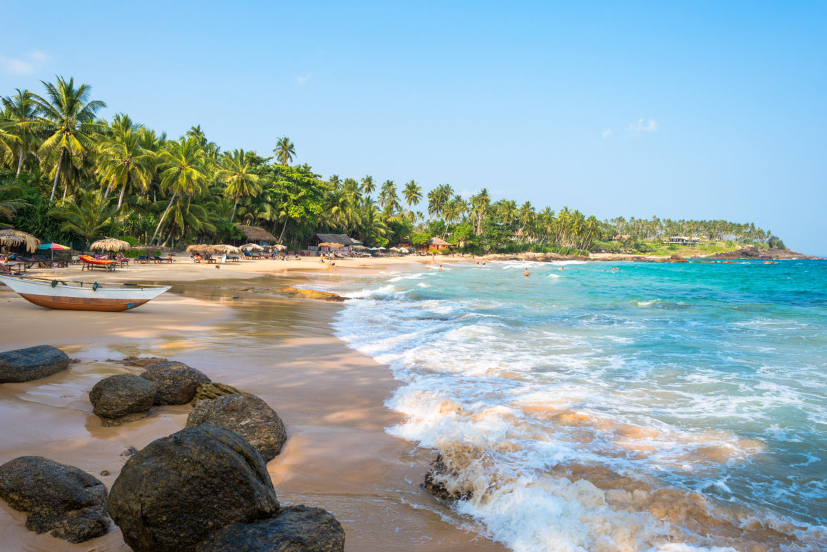 Beach in Tangalle in the southern province of Sri Lanka. The coastal town has a majestic bay and the most beautiful beaches in the south and south-east