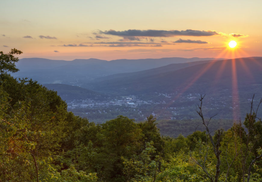 A Summer sunset overlooking North Adams, Masachusetts in the Berkshires.
