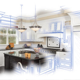 Beautiful Custom Kitchen Blue Design Drawing and Photo Combination.