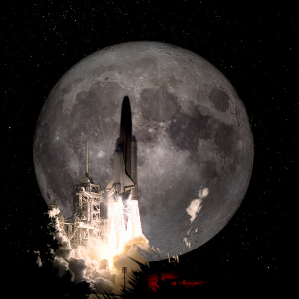 Spaceship taking off on a mission to the full moon, conceptual travel to the moon collage. Elements of this image furnished by NASA.