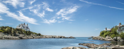 a picture of the blue sky over an ocean inlet in Newport Rhode Island