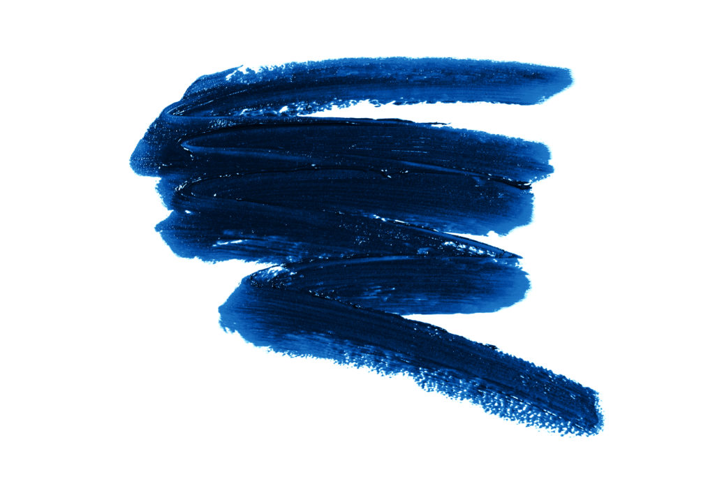 Smear of blue lipstick. Cosmetics concept. Element isolated on white.